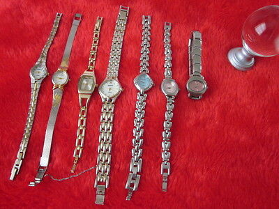 Lot Of 7 Vintage Women Watches Gold  & silver Plated  Elgin/rumors...