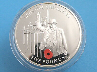 Gibraltar - 2004 Silver Proof Five Pound £5 Crown Coin - Sir Winston Churchill