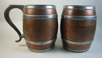2 Antique Copper & Pewter The Hill School Trophy Mugs Arts-Crafts Pottstown, PA