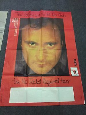 Rare Ancienne Affiche Musique Phil Collins No Jacket Required Tour Genesis