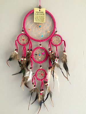 Attrape rêves - Dream Catcher - Rose Fushia - Cuir et pierres