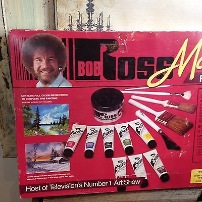 Bob Ross Master Paint Set Complete Vintage Kit 8 Oil Colors 4 Brushes 1 Knife