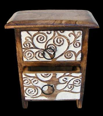 """Celtic Tree Wood Chest with Two Drawers 7.5"""" x 3.5"""" Altar Item"""