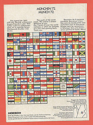 126 little participants Country flags Stickers   Olympic Games MÜNCHEN 1972  !!