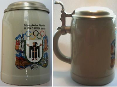 Orig.Tankard / Beer mug   Olympic Games MÜNCHEN 1972 // with tin lid  !!  RARE