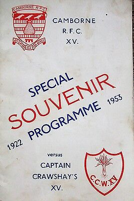 Camborne v casptain crawshays xv  1953 fully signed
