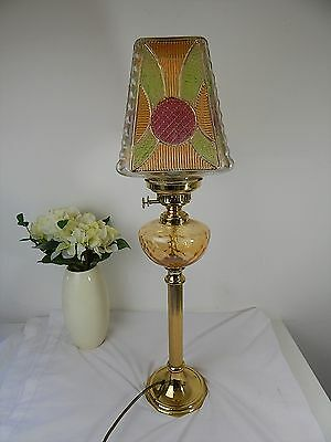Vintage Electric Oil Lamp Style Brass Table / Desk Lamp / Light