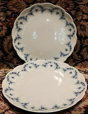 "KAISER Romantica Festival Blue on White 7 7/8"" Salad plates (2)"