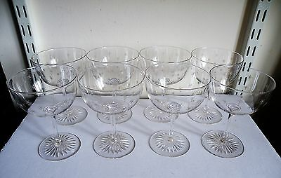 A Fine Set Of 8 Victorian Star Engraved Champagne Saucers / Coupe Glasses