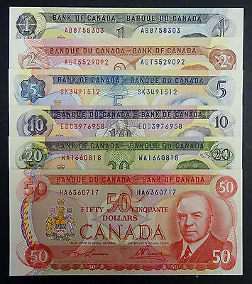 Set of 6 Canadian 1970s Bank Notes $1, $2  $5, $10 , $20 & $50 EF/AU/UNC
