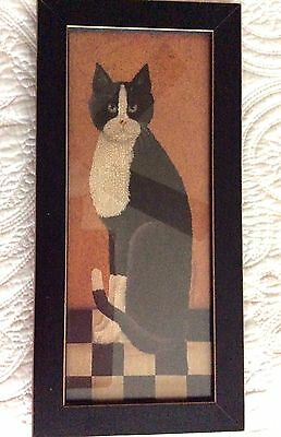COUNTRY CAT BY CINDY SAMPSON TUXEDO CAT FRAMED PRINT - SIGNED - 1990's