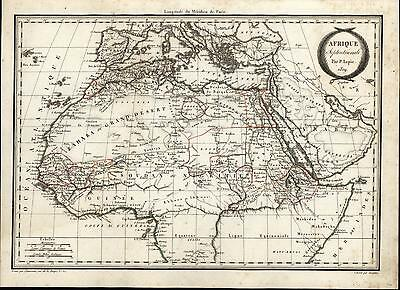 Northern Africa Morocco Egypt Libya Sahara Deser 1809 Lapie old antique map