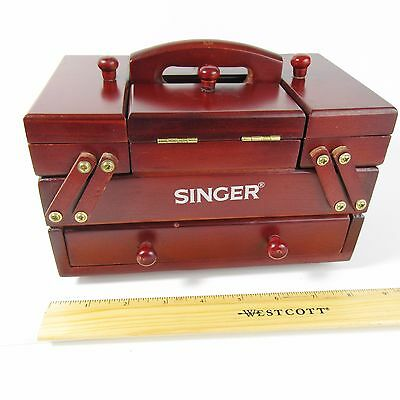 Vintage SINGER Accordian-Style Fold-Out Wooden Sewing Jewelry Box  Used