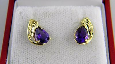 Captivating !!! 10K Yellow Gold Natural African Amethyst Earrings