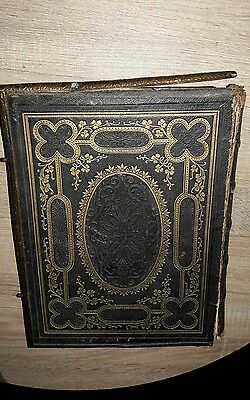 Large 1875 vintage antique leather Bible brass clasps Missing Family