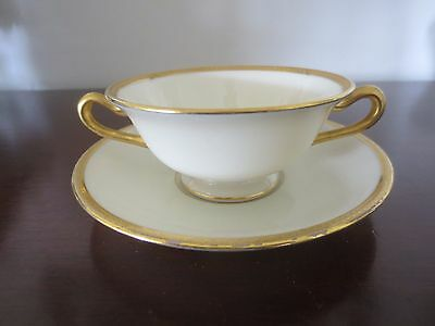 Set of 4 Lenox/Tiffany USA Gold Encrusted Cream Soup Bowls & Under Plates  MINT