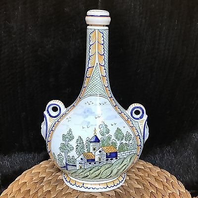 French Faience Art Pottery Bottle 2 Heads Hand Painted Quimper Style France 13""