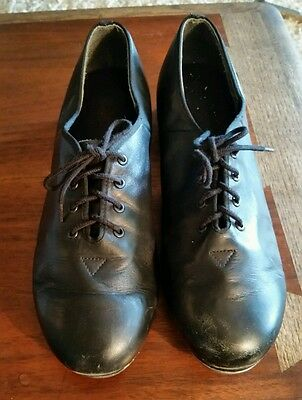 Vintage Leo's Ultratone Black Leather Lace Up Tap Shoes Womens 8.5 Dance Jazz