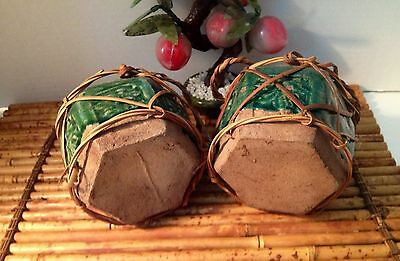 19thC Chinese Shiwan Green Glazed Hexagonal Pottery Jars with Lids and Wrapping