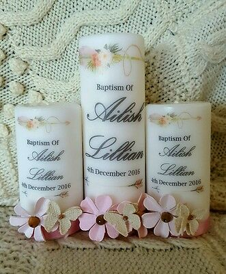 Beautiful set of 3 christening baptism naming day candle keepsake