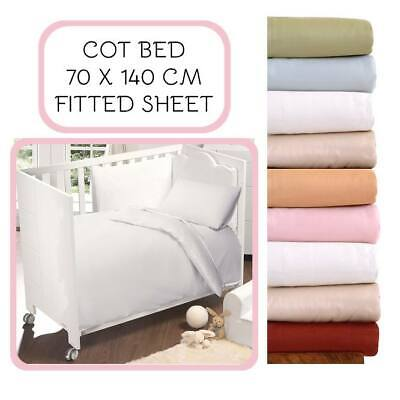 Nursery Baby Cot Bed Luxury 200Tc Egyptian Cotton Fitted Bed Cover Sheet 70X140