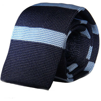 New Luxury Mens 2 Tone Blue Striped Woven Tie Necktie Solid Knitted Skinny