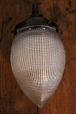 Vintage Acorn Teardrop Holophane Prismatic Ribbed Glass Light Shade Pendant