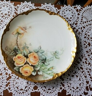 """Haviland Limoges France Hand Painted Cabinet Plate Large Yellow Roses 8 1/2"""""""