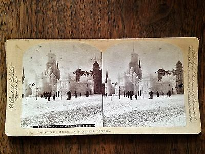 1884 ICE PALACE in Montreal Quebec Canada - Stereoview Card