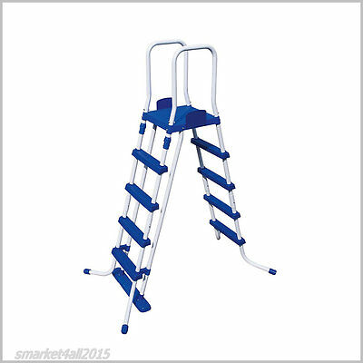 Swimming Pool Safety Ladder 132 Cm Above Ground Pools Steel Frame Plastic Steps