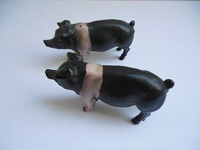 Pig Inarco Black White Vintage 1950's Salt Pepper Shakers Excellent 4 3/4""
