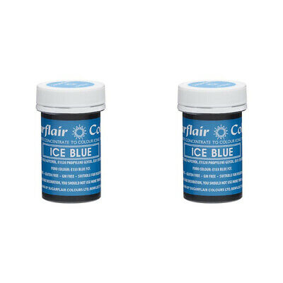 2 x Sugarflair 25g Ice Blue Spectral Paste Gel Edible Food Colour for Cake Icing