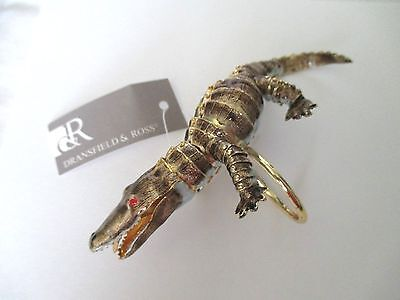 Dransfield & Ross Napkin Ring IOB Articulated Alligator Enameled Gold Tone Body
