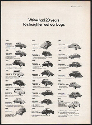 1971 Volkswagen ad 23 years to straighten out our Bugs