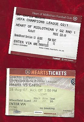 2 Heart of Midlothian football ticket stubs v Gretna and one un-identified