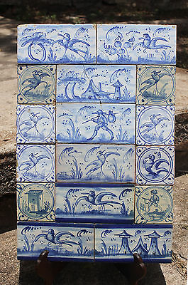 16 Vintage Antique Blue White Dutch Delft Ceramic Porcelain Hand Painted Tiles