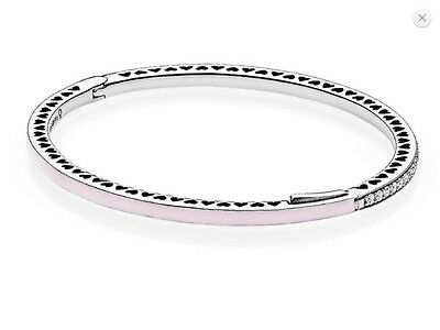 Authentic Pandora Pink Radiant Hearts of PANDORA Bangle 17.5cm - 590537EN68-2