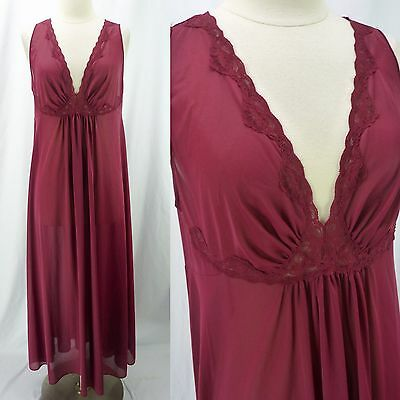 Vintage Lorraine Dark Burgundy Lace Trim V-Neck Empire Long Nylon Nightgown L