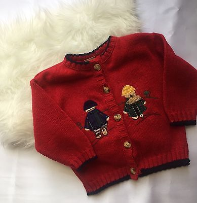 Vintage Red Knit Button Up Cardigan Kids Unisex Size 12 Months Embroidering