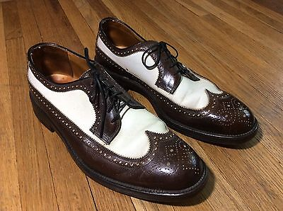 Vintage 1950's Men's Wing Tip Shoes Two-Tone Brown White Henry's Leather