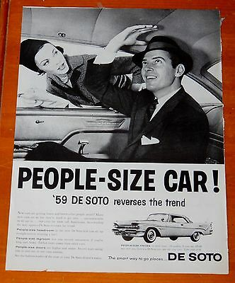 Neat 1959 Desoto Firedome Coupe People Sized Car Ad - Vintage 50S Retro Fifties