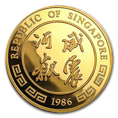 1986 SG Singapore 12 oz Proof Gold Singold Tiger Gold About Uncirculated