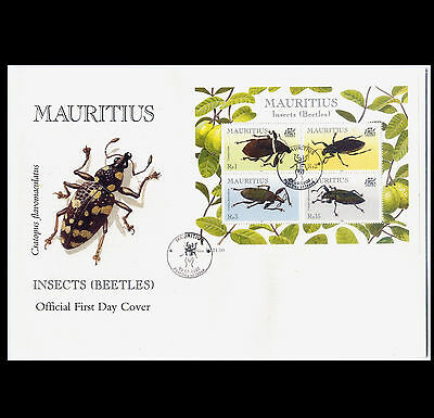 Insects (Beetles) Souvenir Sheet Mauritius FDC - March 2000