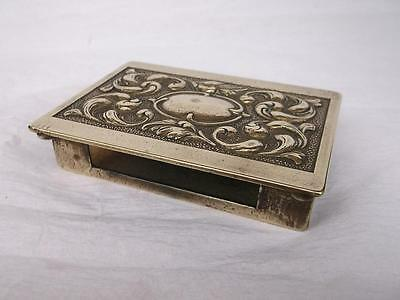 Vintage Heavy Cast Brass Match Box Holder With Embossed Decoration