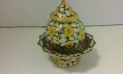 Vintage Small Enameled Porcelain OPIUM Jar lid & Dish apothecary Snuff box