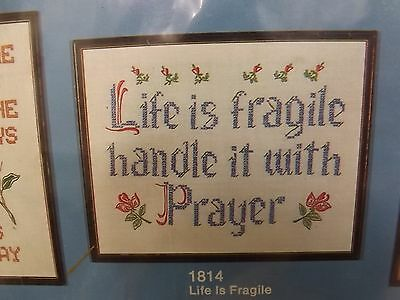 Vtg NEW Life is Fragile Handle With Prayer 11x14 Sampler Stamped Embroidery Kit