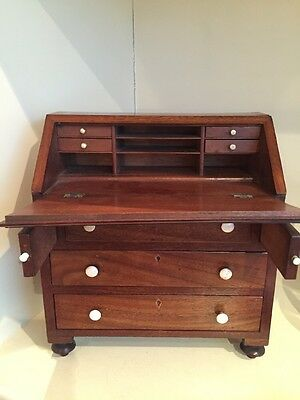 A Charming Antique Miniature Bureau  Desk Apprentice Piece