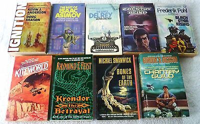 9 Science Fiction Paperbacks - Pohl, Dickson, Swanwick, Feist, Roberts, Del Rey
