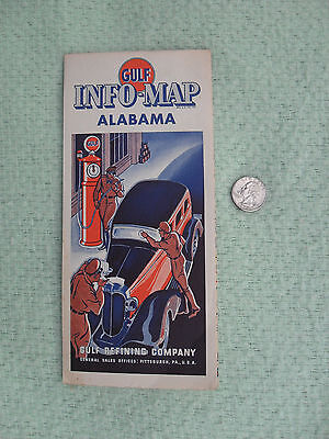 1935 Gulf Oil Refining Co Road Map Alabama Advertising Vibrant Clean Excellent
