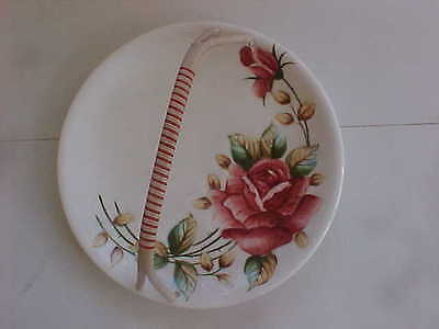 Lefton   Rose 9-1/2 Round  Tray   No 939   Woven Handle  very clean